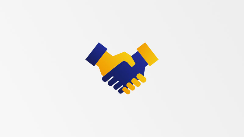 Illustration of hand shake between two partners.